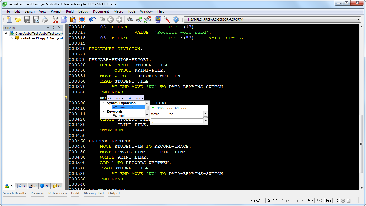 SlickEdit has the most powerful COBOL code editor features