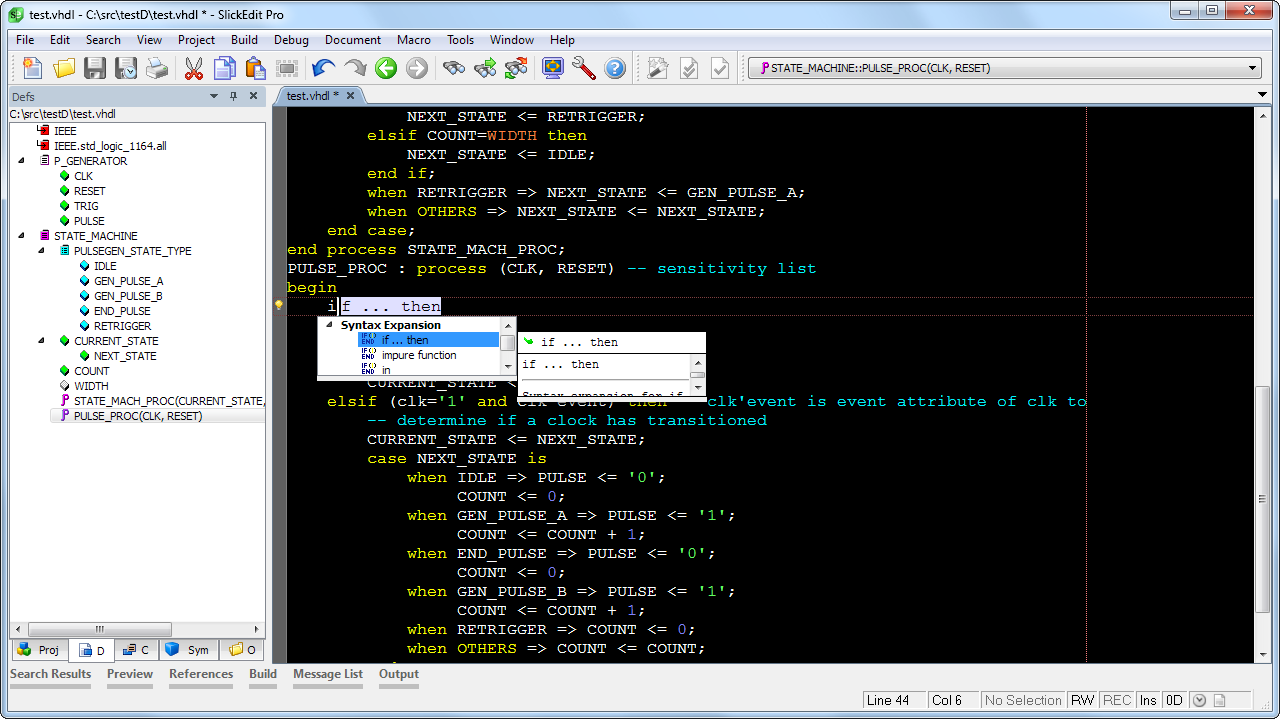 SlickEdit has the most powerful VHDL code editor features